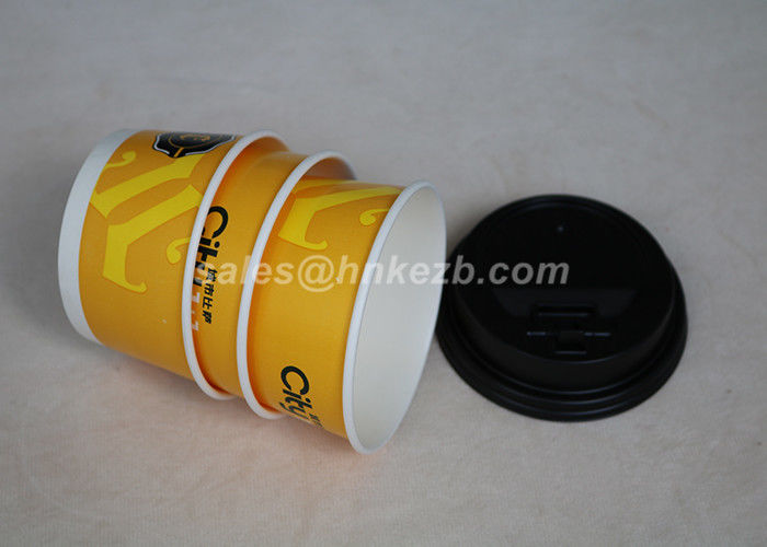 Biodegradable 12oz Disposable Ice Cream Paper Cups Food Grade With Plastic Lid