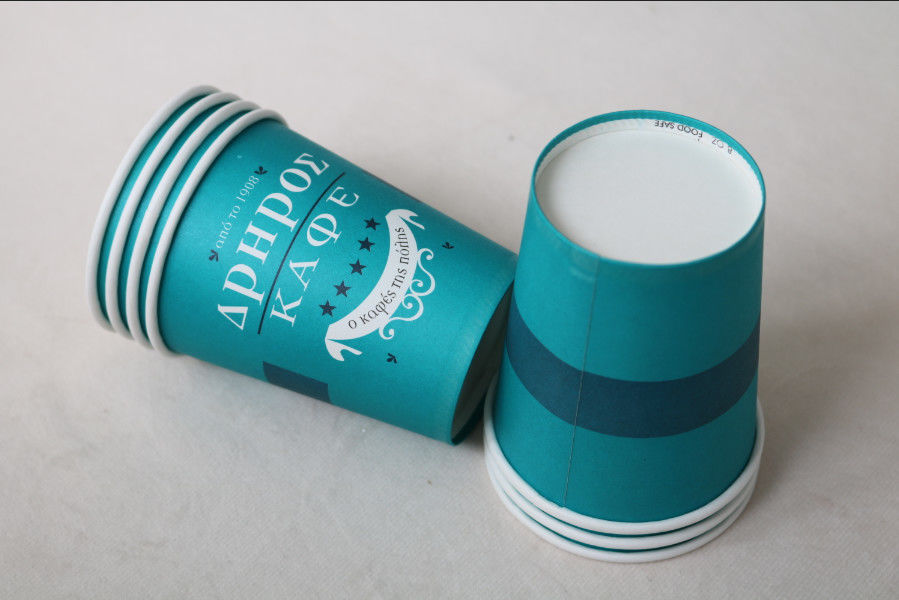 12 Oz 380ml Single Wall Paper Cups For Hot Drinks With Lids In Blue Color
