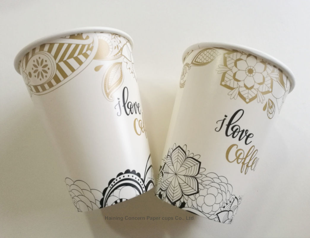 Custom logo Paper Cup Disposable Single Coffee Cup for Hot With Metallic Gold